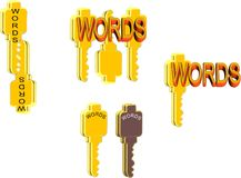 Keywords. Illustration concept of keywords  in 3d on white Stock Photography