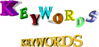 Keywords. 3d illustration of keywords in various styles Stock Photography