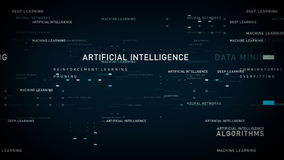 Keywords Artificial Intelligence Blue. Important terms about artificial intelligence drift through cyberspace. All clips are available in multiple color options