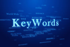 Keywords on blue background. Tags web cloud with Keywords emphasis on deep blue background Stock Photo