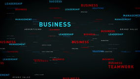 Keywords for Business Black. Essential words about business drift through cyberspace. All clips are available in multiple color options and loop seamlessly stock footage