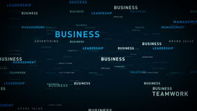 Keywords for Business Blue. Essential words about business drift through cyberspace. All clips are available in multiple color options and loop seamlessly stock illustration