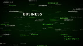 Keywords for Business Green. Essential words about business drift through cyberspace. All clips are available in multiple color options and loop seamlessly vector illustration