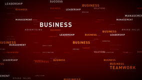 Keywords for Business Red. Essential words about business drift through cyberspace. All clips are available in multiple color options and loop seamlessly stock illustration
