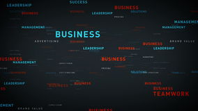 Keywords for Business Silver. Essential words about business drift through cyberspace. All clips are available in multiple color options and loop seamlessly royalty free illustration
