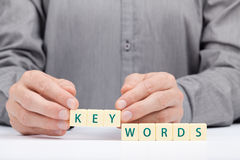 Keywords. Concept. Man complete word Royalty Free Stock Image