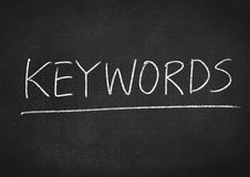 Keywords. Concept word on blackboard background Stock Image