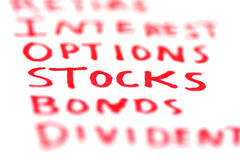 Keywords of finance Royalty Free Stock Photos