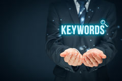 Keywords. Find keywords - SEO and SEM concept. Marketing specialist offer keywording services Royalty Free Stock Photo