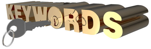 Keywords 3D search key words lock. Keywords key open search shiny gold lock cylinder Royalty Free Stock Image
