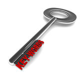 Keywords. On a key, white background, concept of importance of  in search engine visibility and directory search ability Stock Images