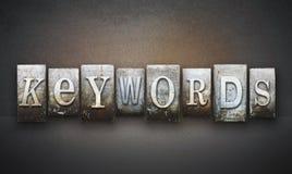 Keywords Letterpress. The word KEYWORDS written in vintage letterpress type Stock Image