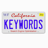 Keywords on License Plate. License plate promoting internet marketing Royalty Free Stock Photo