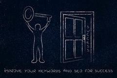 Keywords opening the door to success, man holding huge key Royalty Free Stock Photography