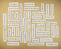 Keywords on paper Stock Images