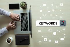 Keywords Research COMMUNICATION  research, on-page optimization,. Seo Stock Image