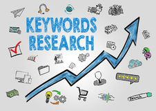 Keywords Research Concept. Arrow with keywords and icons on gray background Stock Photos