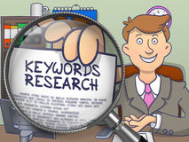 Keywords Research through Magnifier. Doodle Style. Royalty Free Stock Photography