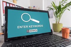 Keywords search concept on a laptop royalty free stock images