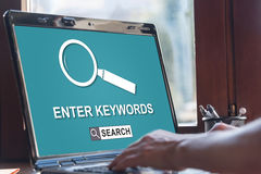Keywords search concept on a laptop screen. Laptop screen displaying a keywords search concept Royalty Free Stock Image