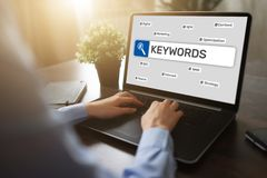 Keywords. SEO, Search engine optimization and internet marketing concept on screen. Keywords. SEO, Search engine optimization and internet marketing concept on stock image