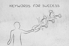 Keywords to reach success, man with magnet catching keys Royalty Free Stock Photography