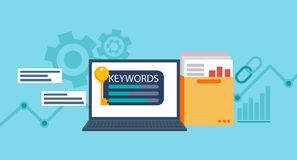 Keywords tool word matching program.   Laptop with a folder of documents and graphs and key. Vector flat illustration Royalty Free Stock Photo