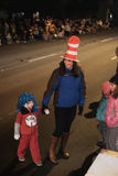 KEZI meteorologist Melissa Frey with children at Corvallis, OR,. Corvallis, OR, Nov 28, 2015: KEZI meteorologist Melissa Frey attends holiday parade in Seuss hat Stock Photography
