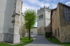 Kezmarok, Slovakia - Medieval basilica of the Holy Cross - bell. Tower stock images