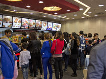 Kfc in China. KFC restaurant lines up to buy KFC food Royalty Free Stock Image