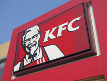 KFC Logo. In a KFC restaurant Royalty Free Stock Image