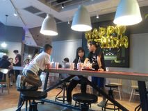 Shenzhen, China: the indoor scenery of KFC restaurant, people enjoy delicious food. KFC restaurant indoor landscape, people are enjoying delicious food stock photography