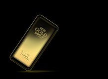 1kg gold bar. Isolated on a black background with clipping path Royalty Free Stock Images