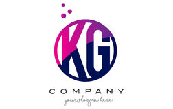 KG K G Circle Letter Logo Design with Purple Dots Bubbles Royalty Free Stock Images