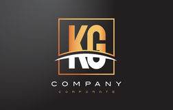 KG K G Golden Letter Logo Design with Gold Square and Swoosh. Royalty Free Stock Photos
