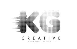 KG K G Letter Logo with Black Dots and Trails. Stock Photography