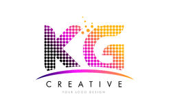 KG K G Letter Logo Design with Magenta Dots and Swoosh Stock Photos