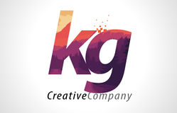 KG K G Letter Logo Design with Purple Forest Texture Flat Vector Stock Photo