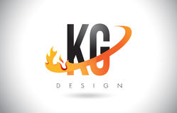 KG K G Letter Logo with Fire Flames Design and Orange Swoosh. Royalty Free Stock Photography