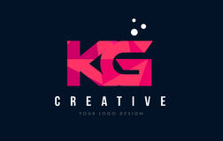 KG K G Letter Logo with Purple Low Poly Pink Triangles Concept Stock Photos
