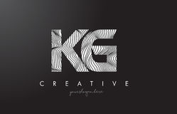 KG K G Letter Logo with Zebra Lines Texture Design Vector. Royalty Free Stock Photo