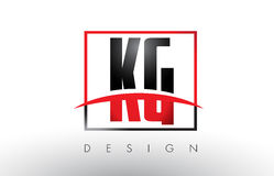KG K G Logo Letters with Red and Black Colors and Swoosh. Stock Images