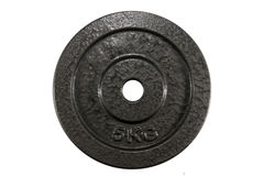 5 kg steel plate for weight lifting to reduce fat and strengthen Stock Photo