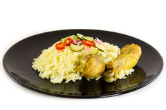 Kgawhmk chicken. On a black plate Stock Photography