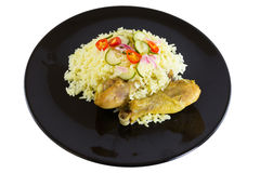 Kgawhmk chicken. On a black plate Royalty Free Stock Images