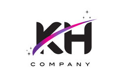 KH K H Black Letter Logo Design with Purple Magenta Swoosh Stock Photography