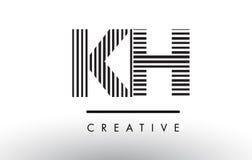 KH K H Black and White Lines Letter Logo Design. Royalty Free Stock Images