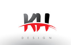 KH K H Brush Logo Letters with Red and Black Swoosh Brush Front Royalty Free Stock Images