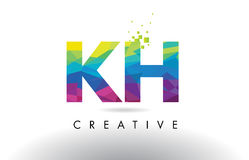KH K H Colorful Letter Origami Triangles Design Vector. Stock Photo
