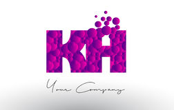 KH K H Dots Letter Logo with Purple Bubbles Texture. Royalty Free Stock Photos